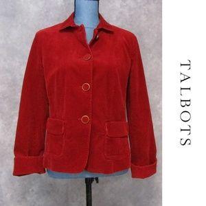 Talbots Red Corduroy Blazer Size 6